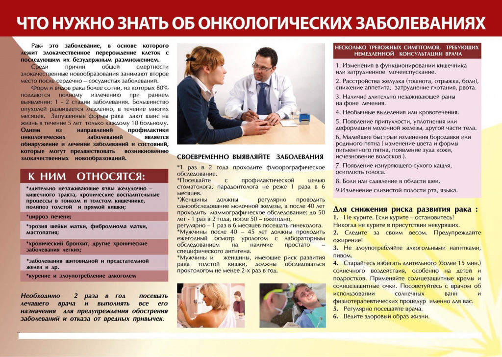 профилактика онкологических заболеваний - памятка